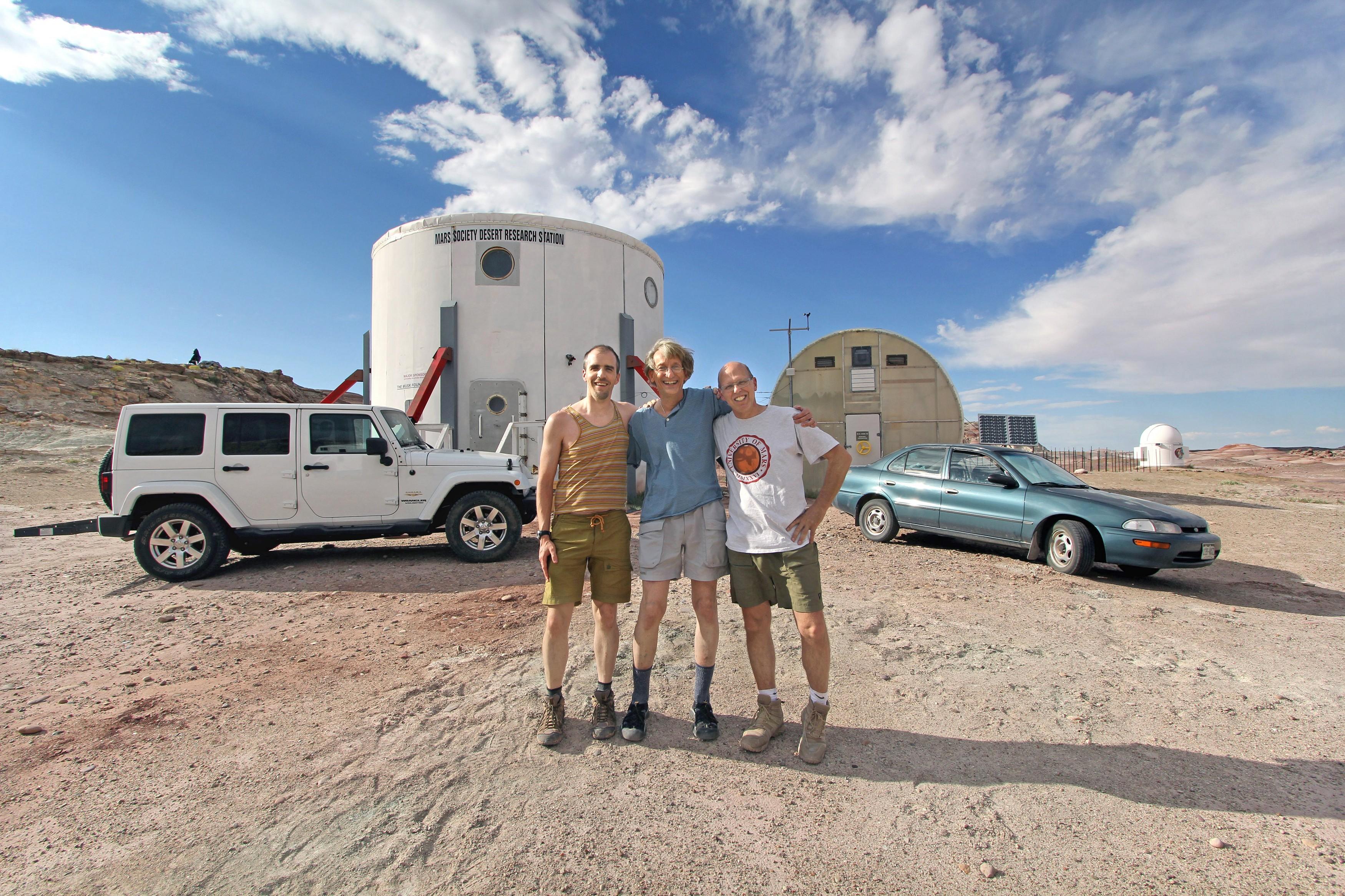 Adam Jones, Gary Becker and Peter Detterline at the Mars Desert Research Station.   Photo credit, Jones and Becker