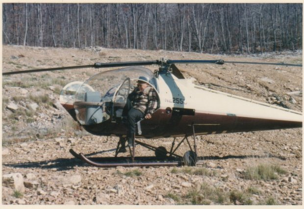 Henry Kawecki's Helicopter at Pulpit Rock ca. 1966