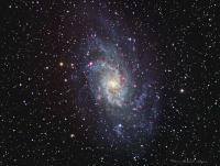 M33 the Triangulum Galaxy also along with M101 called the Pinwheel Galaxy Taken at Cherry Springs State Park 10-11-1012 WO FLT-110 QSI583wsg LRHaGB Luminance 16 X 5 minutes unbinned  RGB 16 each at 2 minutes binned 2x2 Ha 16 x 5 minutes binned 3x3 total exposure 4 hours 16 minutes
