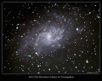 M33 is a well known spiral galaxy in the constellation Triangulum. It has many young stars and some nebula. This image was taken on 11-17-12 from Nazareth, PA using an AT66mm APO and Atik 16C OSC CCD. Nebulosity capture and preprocessing. PhotoShop CS2 + Carboni's Actions postprocessing. PHD guiding. 20x5 min. subs.