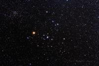 The Hyades star cluster in Taurus. This is the nearest open cluster to our Solar system.  Its brightest stars form a
