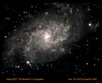 M33, a spiral galaxy in the constellation Triangulum. Imaged November 16, 2012 by David M. Moll. Astro-Tech AT111EDT on an iOptron iEQ45 mount. Orion autoguider package with PHD Guider software. 20 ea. 5 minute subs (OSC) with Orion G3 color camera. Nebulosity capture & preprocess, Photoshop final.