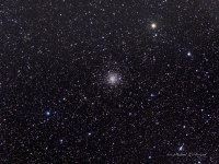 M56, a not too particularly bright globular cluster. Located in a rich star field in the constellation Lyra.  North is up and the field is approximately 1 x 1-1/2 degrees in size. Taken 06-30-2011 Cherry Springs State Park. William Optic FLT-110 Astro Tech Field Flattener, QSI583wsg.