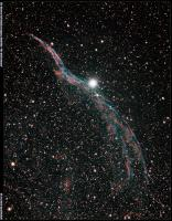 The Witch's Broom (Western Veil) Nebula in Cygnus, NGC 6960. Imaged 7/16/2013 from Pulpit Rock. 2 hours, 50 minutes total exposure (17X10 min). Astro-Tech AT111-EDT @ f7, SBIG 8300C camera.