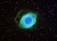 This is a mapped color image using the Hubble Palette of the Helix Nebula.  Image is 150 minutes each channel (binned 2X2) with 30 minute sub exposures taken at -15C.  Dark Subtracted only.  Equipment used was an SBIG ST11K w/Astrodon Ha, OIII, and SII fi
