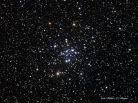 M34 (NGC 1039 ) an open cluster of about 100 stars in Perseus. LRGB, William Optics FLT-110, Astro-Tech Field Flattener, QSI583wsg, Celestron CGE mount, Watec 120N+ used as guide camera off-axis.  Guided with PHD Guiding, acquired in AstroArt, preprocessed in Deep Sky Stacker and processed in Photoshop.  Luminance: taken 09-14-09, 14 X 4 minutes RGB: taken taken 09-18-09, 8 frames each @ 2 minutes binned  2 X 2 Total exposure: 104 minutes  All frames taken @ Cherry Springs State Park, PA
