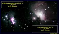 The Orion Nebula and the Running Man Nebula.  Taken with an Orion ST80 with a Bader Fringe Killer filter, an Orion Starshoot CCD camera.  60x60 second exposures.  Taken from South Mountain night of 11/25/2006.