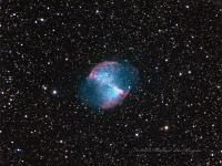 M27 The Dumbbell Nebula in Vulpecula. Shot the week of August 9th 2015 Highland Lakes NJ. Celestron CGE1100, QSI 583wsg, Starizona reducer. LRGB L= 18x5 minutes RGB 14 x 2 minutes each, all frames binned 2x2, 172 minutes total exposure.