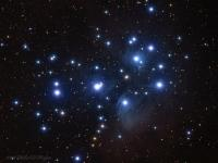 """M45 the Pleiades, or Seven Sisters. Open star cluster and reflection nebula in Taurus. Taken @ Cherry Springs State Park the morning of 08-30-2016.  The details:William Optics  Zenithstar 80; TeleVue Flattener/Reducer; QSI583wsg; Baader LRGB filters. Guided off axis with a Starlight Xpress Lodestar guider on a HEQ-5  mount. LRGB, luminance 16 @ 10 minutes each binned 1x1, RGB 25 each @ 4 minutes binned 2x2. Aquired in AstoArt. Calibrated and stacked  in Deep Sky Stacker. Processed in Photoshop. Diffraction spikes added with """"Star Spikes Pro"""""""