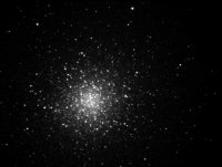 M13 Globular Cluster in Hercules.  B&W, taken with a Meade 8\
