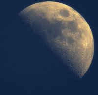 Taken April 12th during daylight with new 1.3Mb webcam and my trusty ST80 telescope.  I can now get the whole moon and nothing but the moon in one shot with this large chip camera.  The only downside of the new camera, its a CMOS chip so its not very se