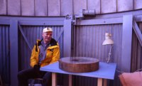 Paul Shenkel and the 20-inch primary mirror after it had been removed from the telescope for refiguring.