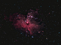 Taken 7-14-09 from Nazareth Driveway Observatory. WO Megrez 90mm Apo with IDAS LP filter, Atik 16C one-shot color CCD. Taken & preproc. in Nebulosity, guided with PHD. Post proc. in PS CS2 + Carboni Actions. 16 x 2min expo.