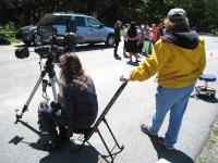 A teacher and LVAAS Member Estelle Hines at the solar scopes.