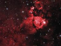 Detail from an image of the Heart Nebula taken October 9 & 10 2010 at Cherry Springs State park, PA.  William Optics Zenitstar 66 APO. WO 0.8 focal reducer II, Lodestar autoguider, QSI 583wsg and Baader filters.  HaGB, H-alpha 24x10 minutes binned 1x1. Blue & Green 16 each @ 4 minutes binned 2x2.  Aquired in AstroArt, Stacked in Deep Sky Stacker, combined and processed in Photoshop. Faux spikes added with Star Spikes Pro. Hat tip to Mike T