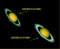 Two comparison images of Saturn.  01/01/2006 and 01/27/2006.