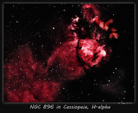 NGC 896 is the upper right hand portion of the Heart Nebula (IC 1805). Taken 11-1-11 from Nazareth, PA in H-alpha and false colored in PS using Noel Carboni's Actions. 15 x 5 min. subs using a AT 66 APO, captured and preprocessed in Nebulosity . Guided with PHD. Losmandy GM 8 mount, Atik 16C OSC CCD