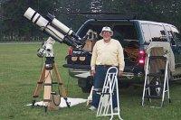 Jim Hoffman, equipped for solar and celestial observing.  [i] Originally uploaded by Joe Zelinski [/i] [i] 09 July 2002 [/i]