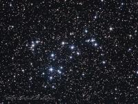 NGC 6633 open cluster in Ophiucus.  A large cluster consisting of about 30 stars at slightly over 1,000 light years distance. Its age is estimated at 660 million years. Taken at Cherry Springs State Park the morning of June 29th 2016