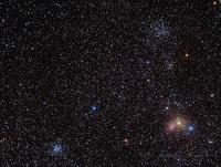 In the form of a triangle open cluster  M38 at top, Ngc 1907 below and slightly right, IC 417  at the lower right, SH2-237 to the left and M 36 at the left vertex. William Optics 66SD with 0.8 reducer, QSI 583-wsg. LRGB L= 18 x 5 minutes unbinned. RGB = 20  x 2 mintes each. Taken at Cherry Springs state park the morning of 10-03-2013