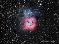 M20 the Triffid Nebula.Taken 8/17/09 from Pulpit Rock. Celestron C8, Meade 0.63 redcuer, QSI 583WSG, Baader color filters