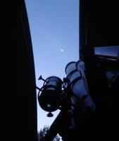 """A view of the Crescent Moon and the 6\"""" Knecht Refractor during an early morning observing session. The sun was rising - bringing an end to moon gazing and a beginning to a great day."""